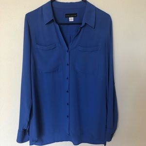 Simply Styled Cobalt Blue Long Sleeve Button Front